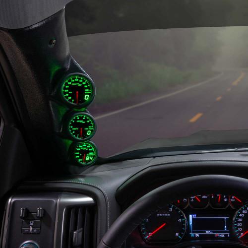 Green MaxTow Triple Gauge Package for 2014-2019 Chevrolet Silverado Duramax