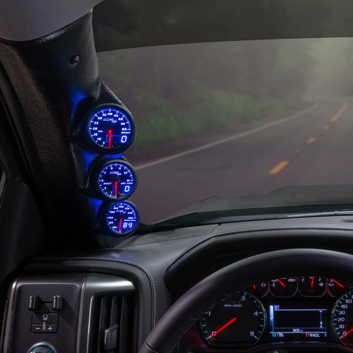 Blue MaxTow Triple Gauge Package for 2014-2019 Chevrolet Silverado Duramax