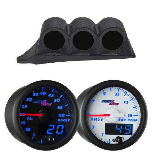 Blue MaxTow Triple Dashboard Gauge Package for 1999-2007 Ford Super Duty Power Stroke