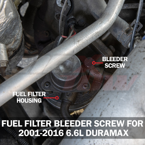 Fuel Filter Bleeder Screw for GM 6.6L Duramax Installed to Truck