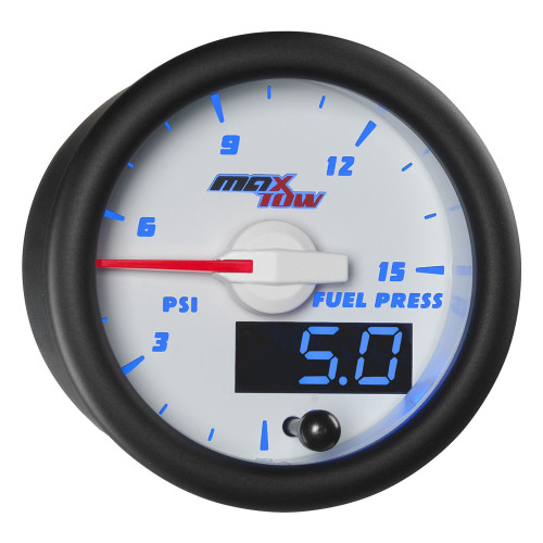 White & Blue MaxTow Double Vision 15 PSI Fuel Pressure Gauge