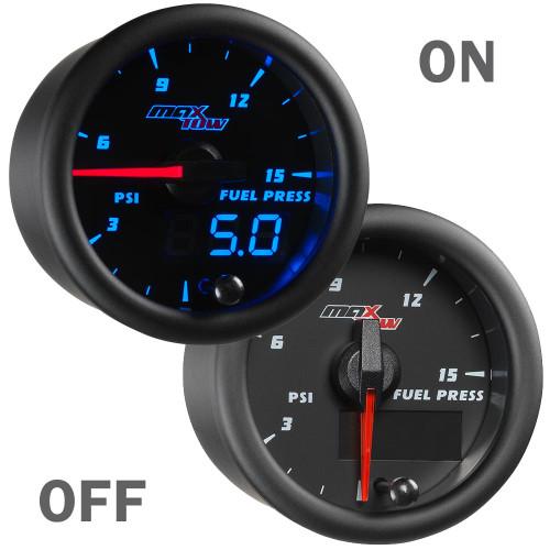Black and Blue 15PSI Fuel Pressure Gauge On/Off