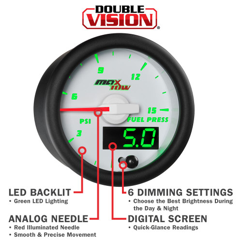 White & Green MaxTow Gauge Features