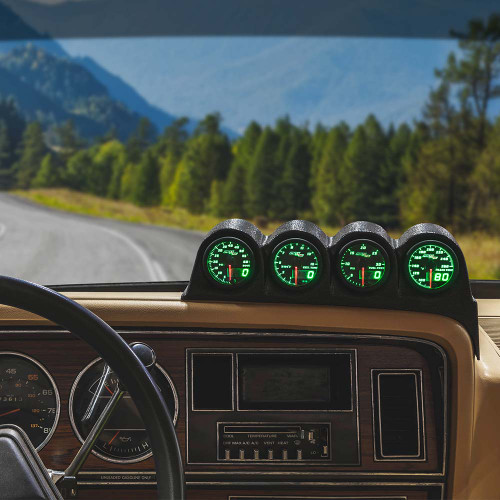 Green MaxTow Quad Dashboard Gauge Package for 1986-1993 Dodge Ram Cummins