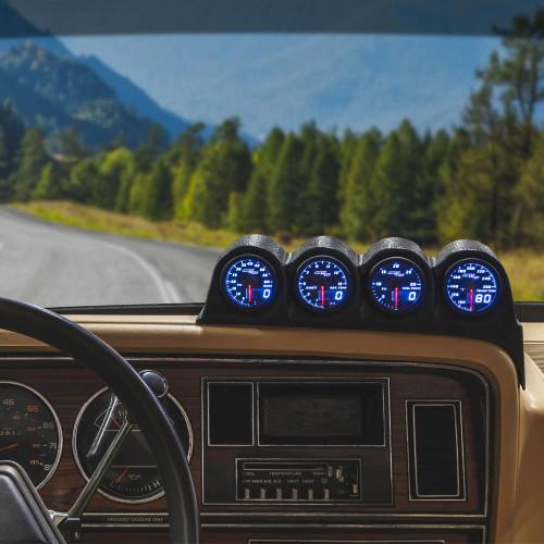 Blue MaxTow Quad Dashboard Gauge Package for 1986-1993 Dodge Ram Cummins