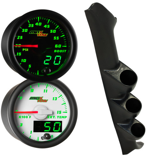 Green MaxTow Triple Gauge Package for 1997-2001 Ford F-150