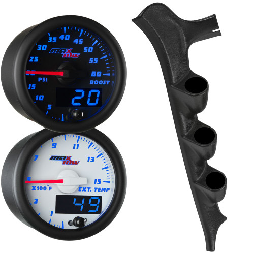 Blue MaxTow Triple Gauge Package for 1987-1991 Ford F-Series Thumb