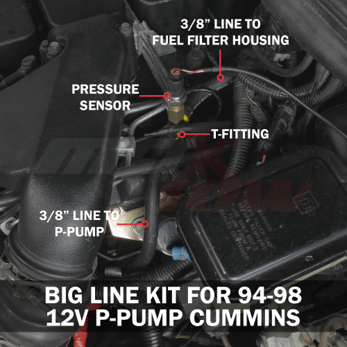 Fuel Pressure Big Line Kit Installed to 1994-1998 Dodge Ram 12-Valve P-Pump Cummins