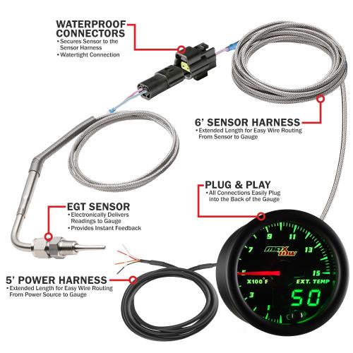 MaxTow 1500 F Pyrometer EGT Gauge Parts Layout