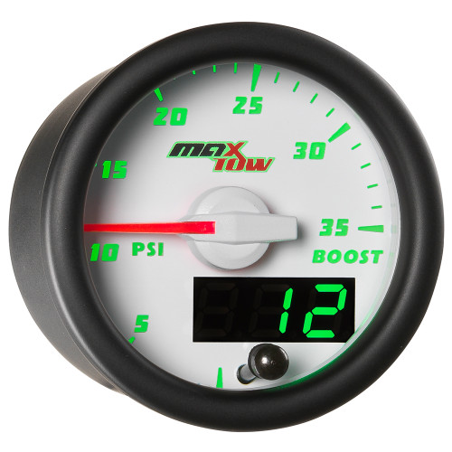 White MaxTow Double Vision 35 PSI Boost Gauge