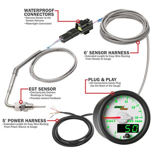 Wiring Schematic for MaxTow Pyrometer Exhaust Gas Temp Gauge