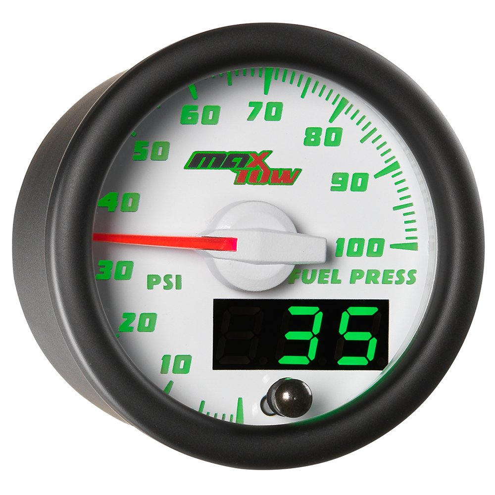 White MaxTow Double Vision 100 PSI Fuel Pressure Gauge