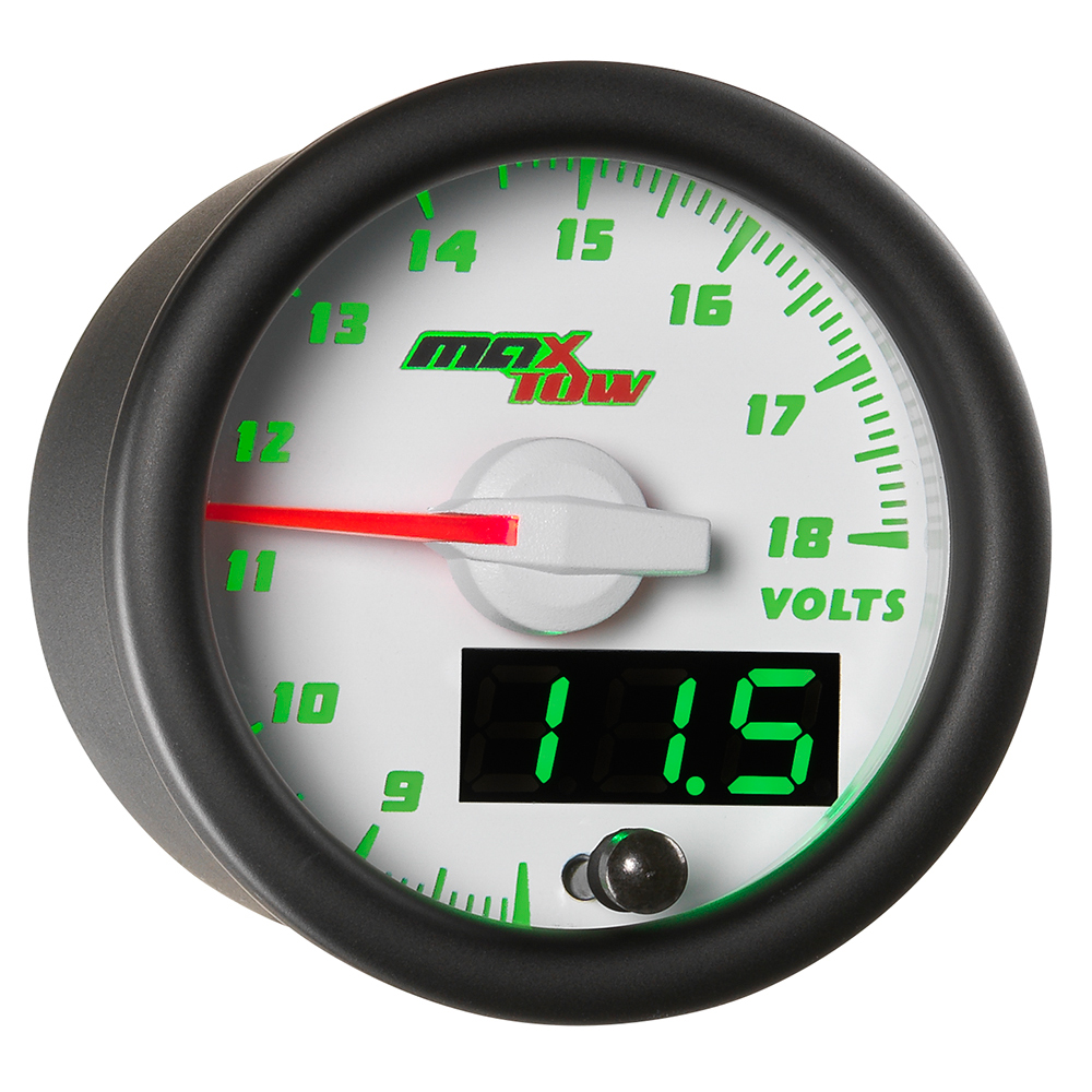 White MaxTow Double Vision Voltmeter Gauge