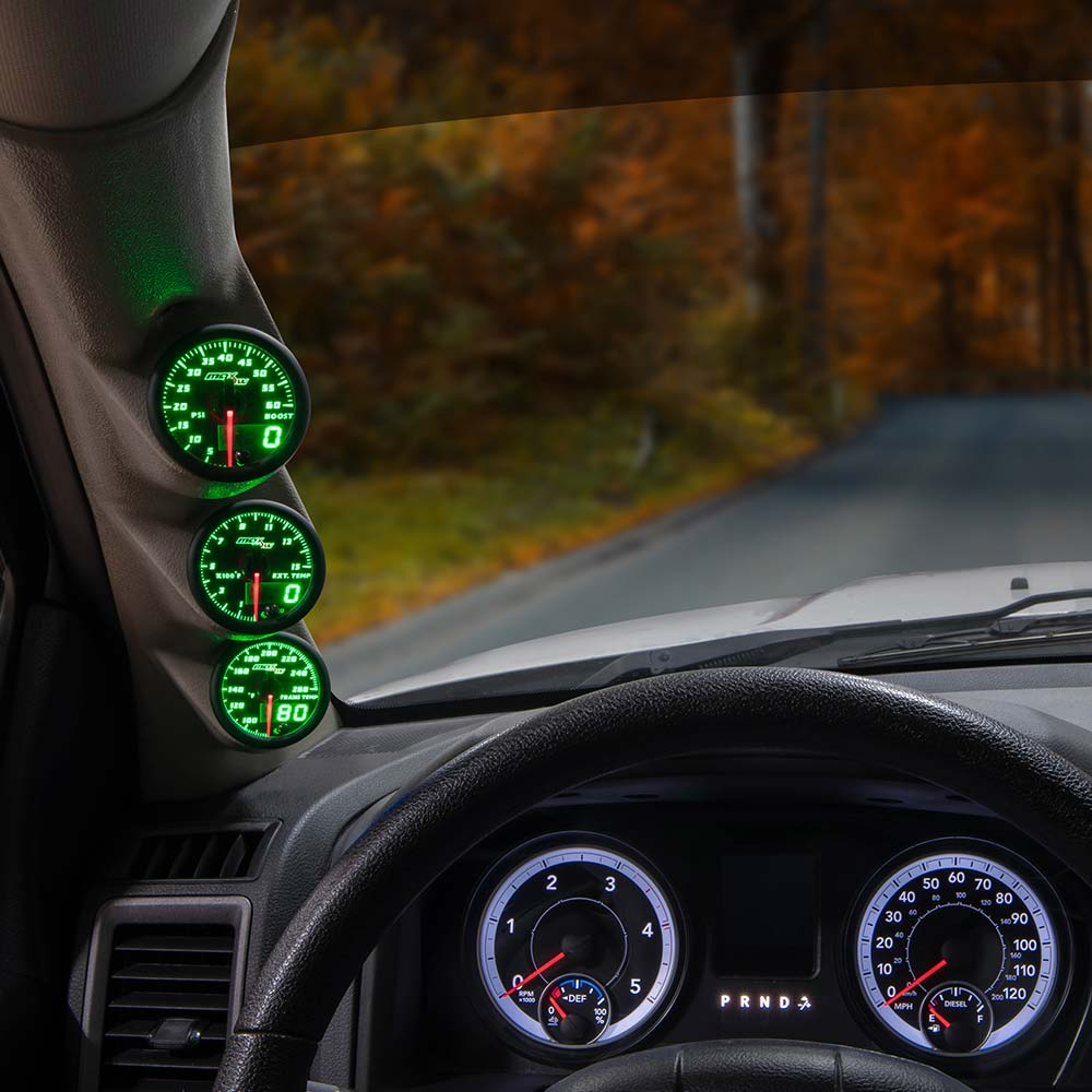 Green MaxTow Triple Gauge Package for 2010-2018 Dodge Ram Cummins