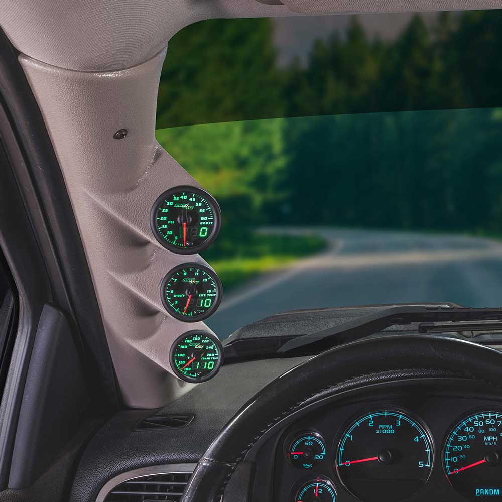 Green MaxTow Triple Gauge Package for 2007-2013 Chevrolet Silverado Duramax