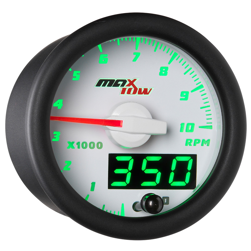 White MaxTow Double Vision 10,000 RPM Tachometer Gauge