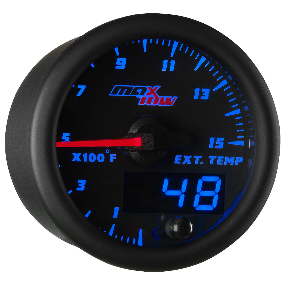 Black and Blue MaxTow Double Vision 1500 Pyrometer EGT Gauge