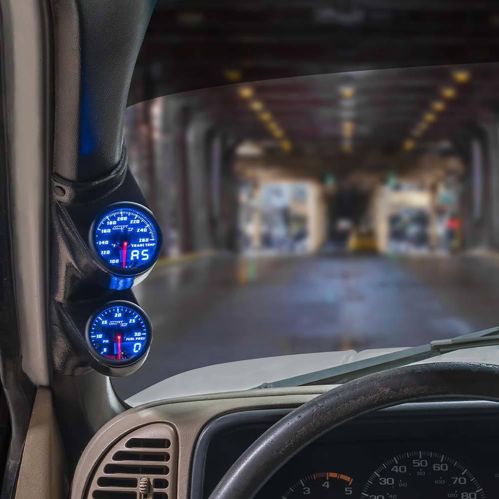 Blue MaxTow Dual Gauge Package for 2000-2007 Chevrolet Silverado Duramax