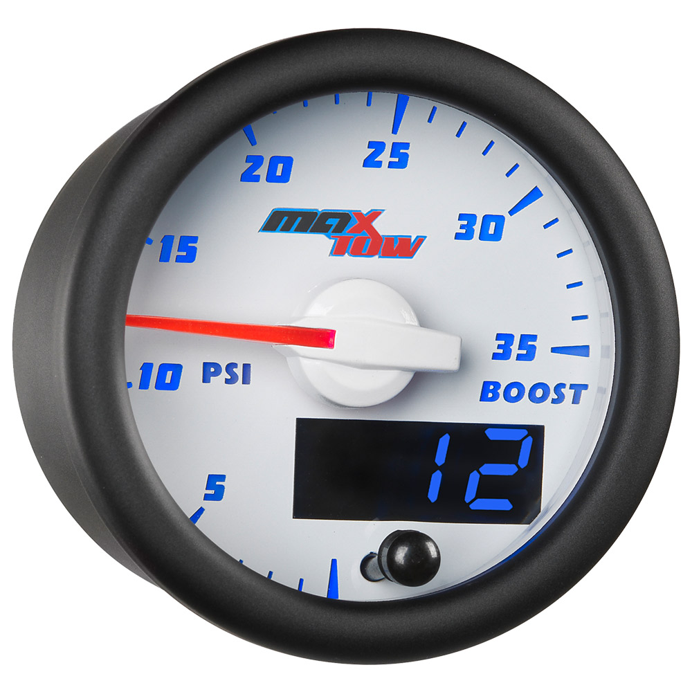 White & Blue MaxTow 35 PSI Boost Gauge