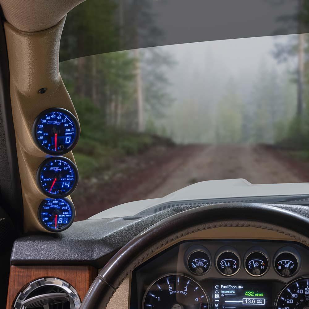 Blue MaxTow Triple Gauge Package for 2011-2016 Ford Super Duty Power Stroke