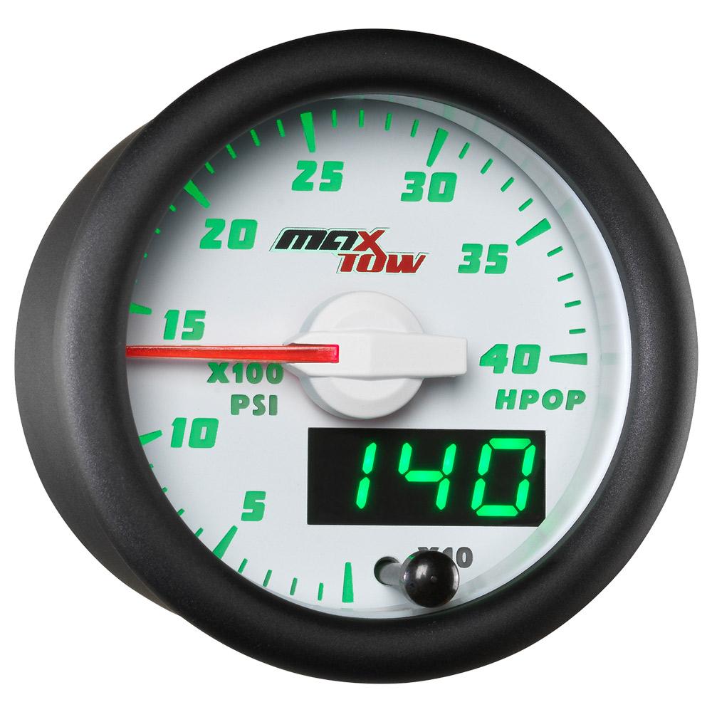 MT-BDV21 MaxTow 52mm Black /& Blue  High Pressure Oil Pressure HPOP Gauge