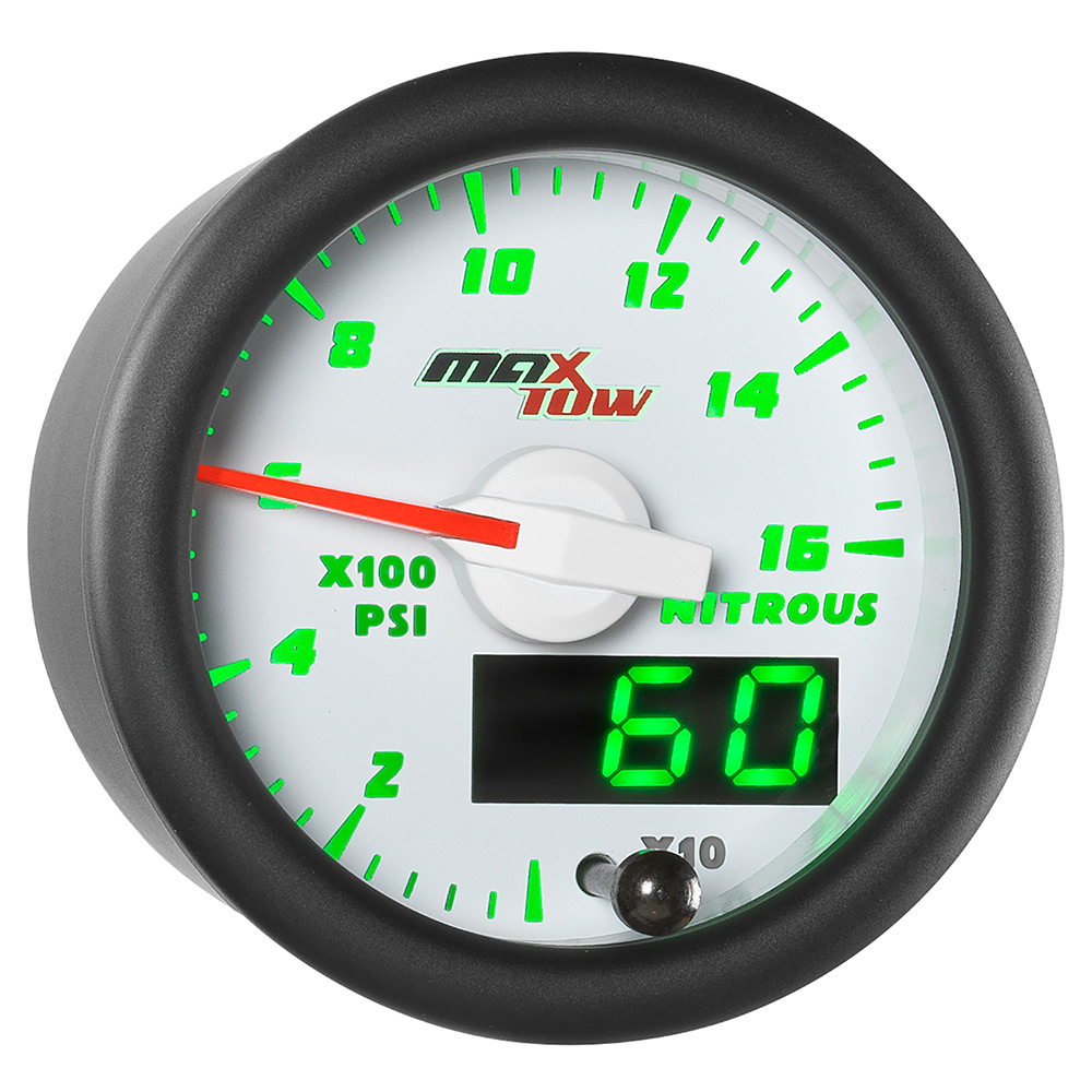 White & Green MaxTow Double Vision 1,600 PSI Nitrous Pressure Gauge
