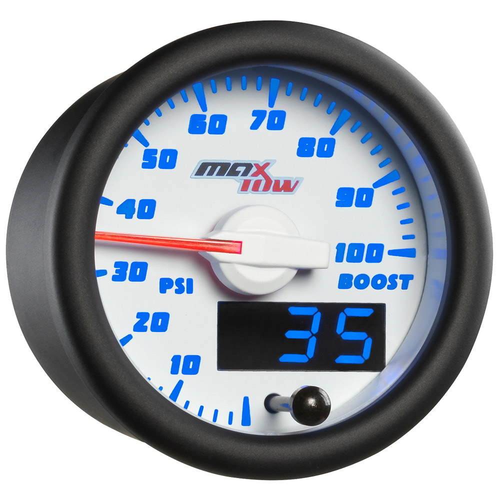 White and Blue MaxTow Double Vision 100 PSI Boost Gauge