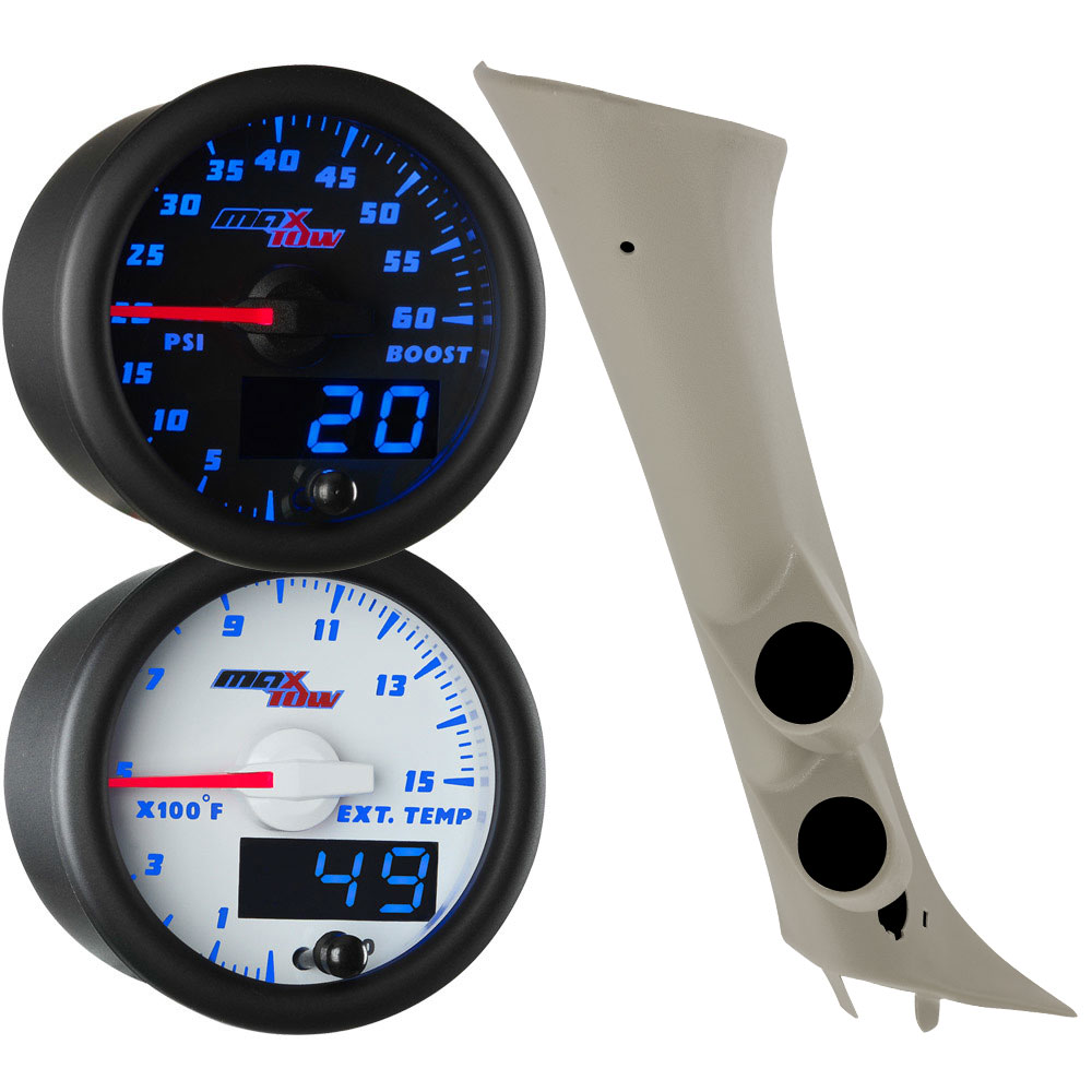 2007-2013 Chevrolet Silverado Duramax Full Size Dual Blue MaxTow Custom Gauge Package Thumb