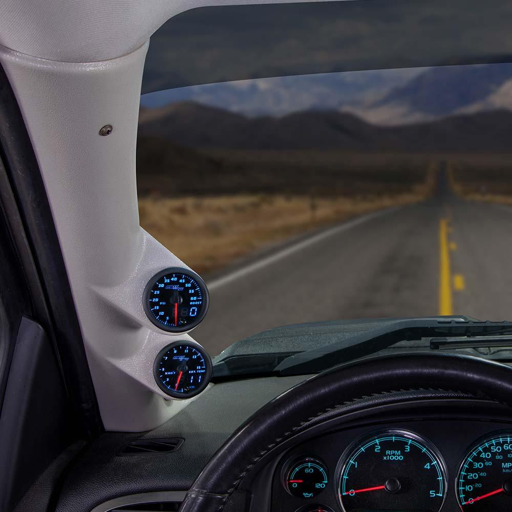 Blue MaxTow Dual Gauge Package for 2007-2013 Chevrolet Silverado Duramax