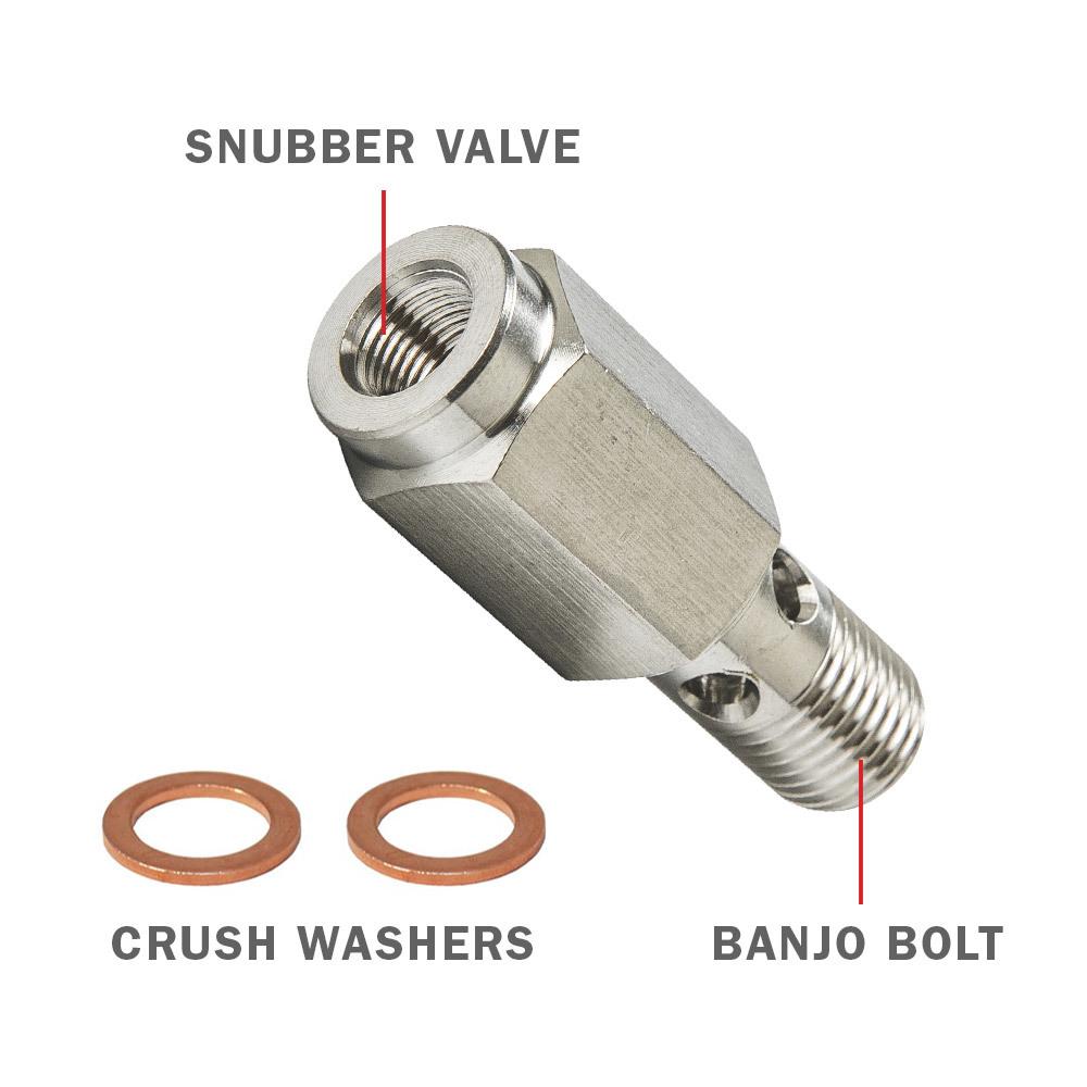 Fuel Pressure Banjo Bolt Thread Adapter + Snubber Valve for 24 Valve Cummins