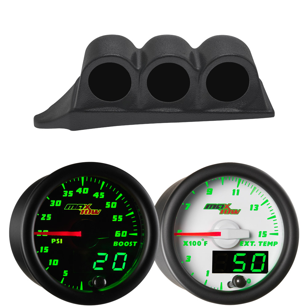 Green MaxTow Triple Dashboard Gauge Package for 1999-2007 Ford Super Duty Power Stroke