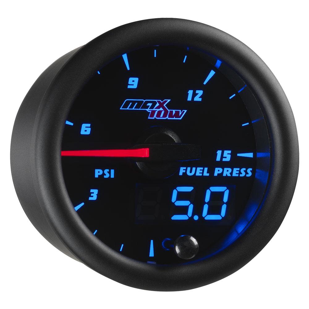 Blue MaxTow 15 PSI Fuel Pressure Gauge