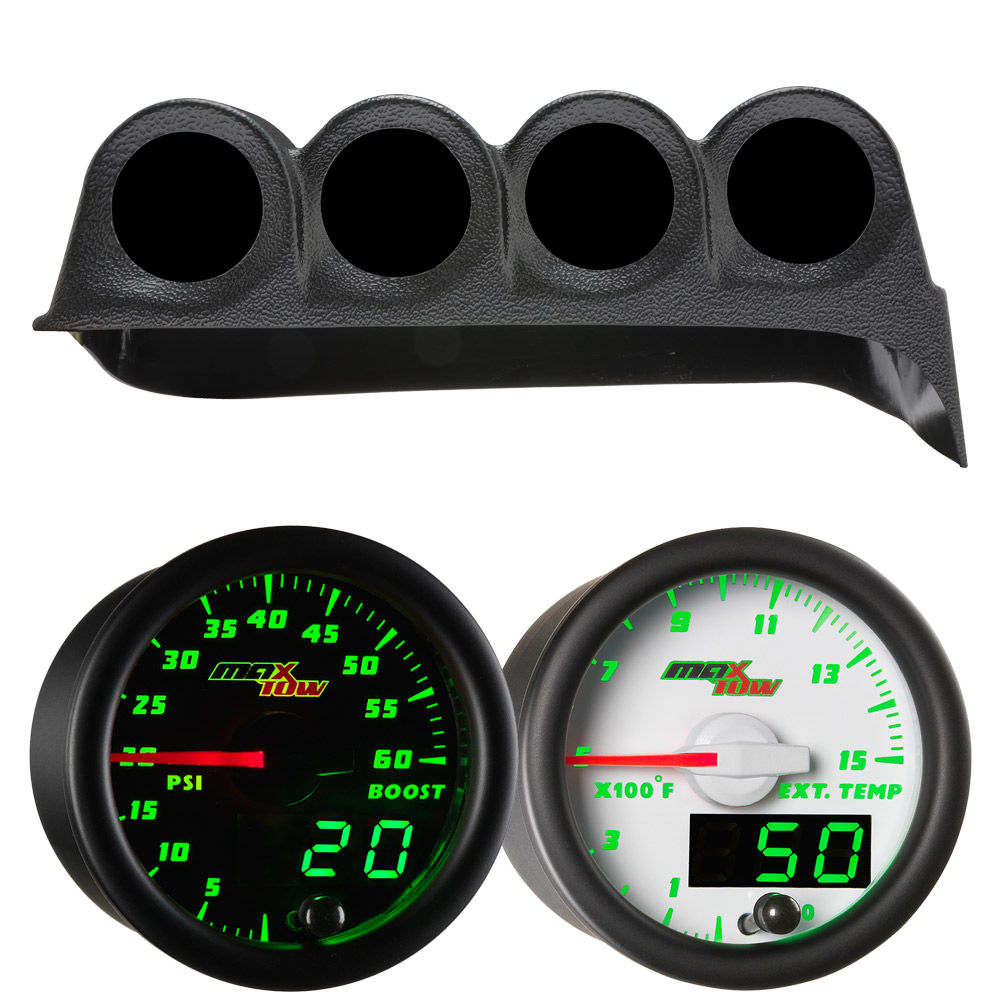 Green MaxTow Quad Dashboard Gauge Package for 1986-1993 Dodge Ram Cummins