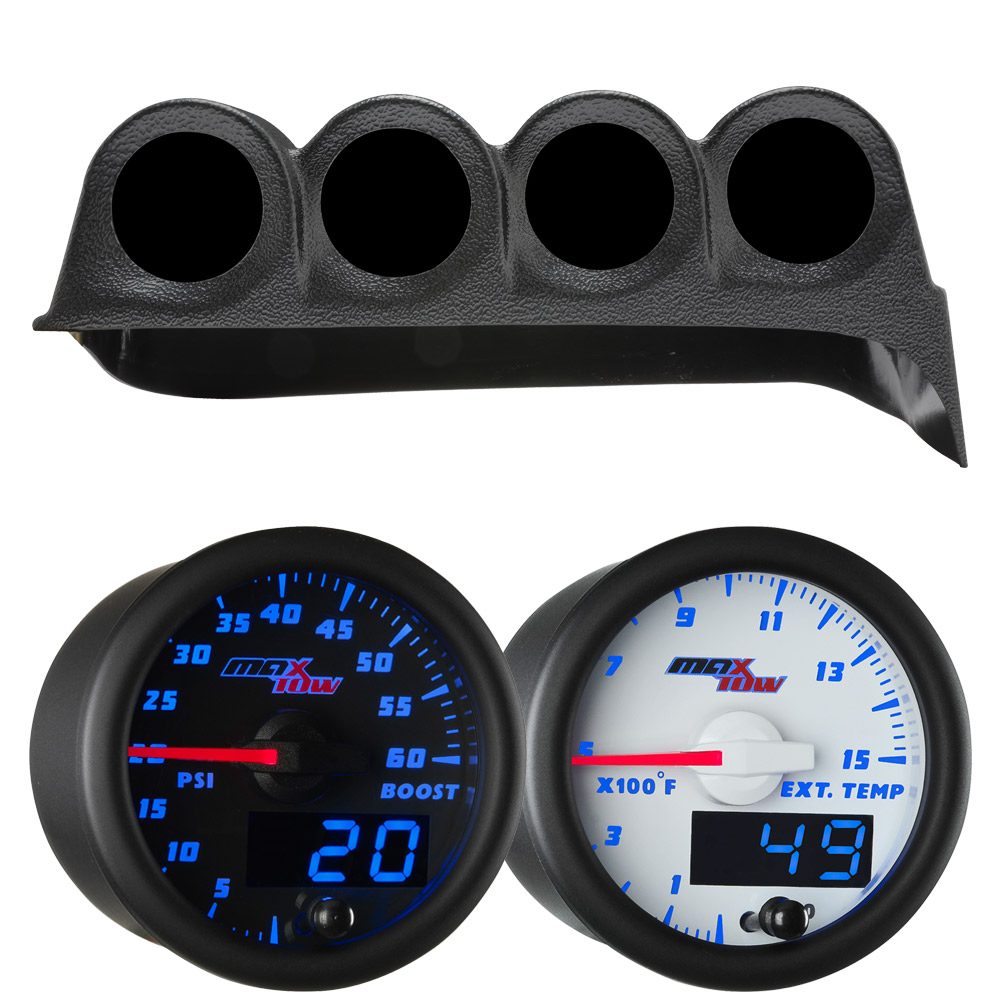 Blue MaxTow Quad Dashboard Gauge Package for 1986-1993 Dodge Ram Cummins