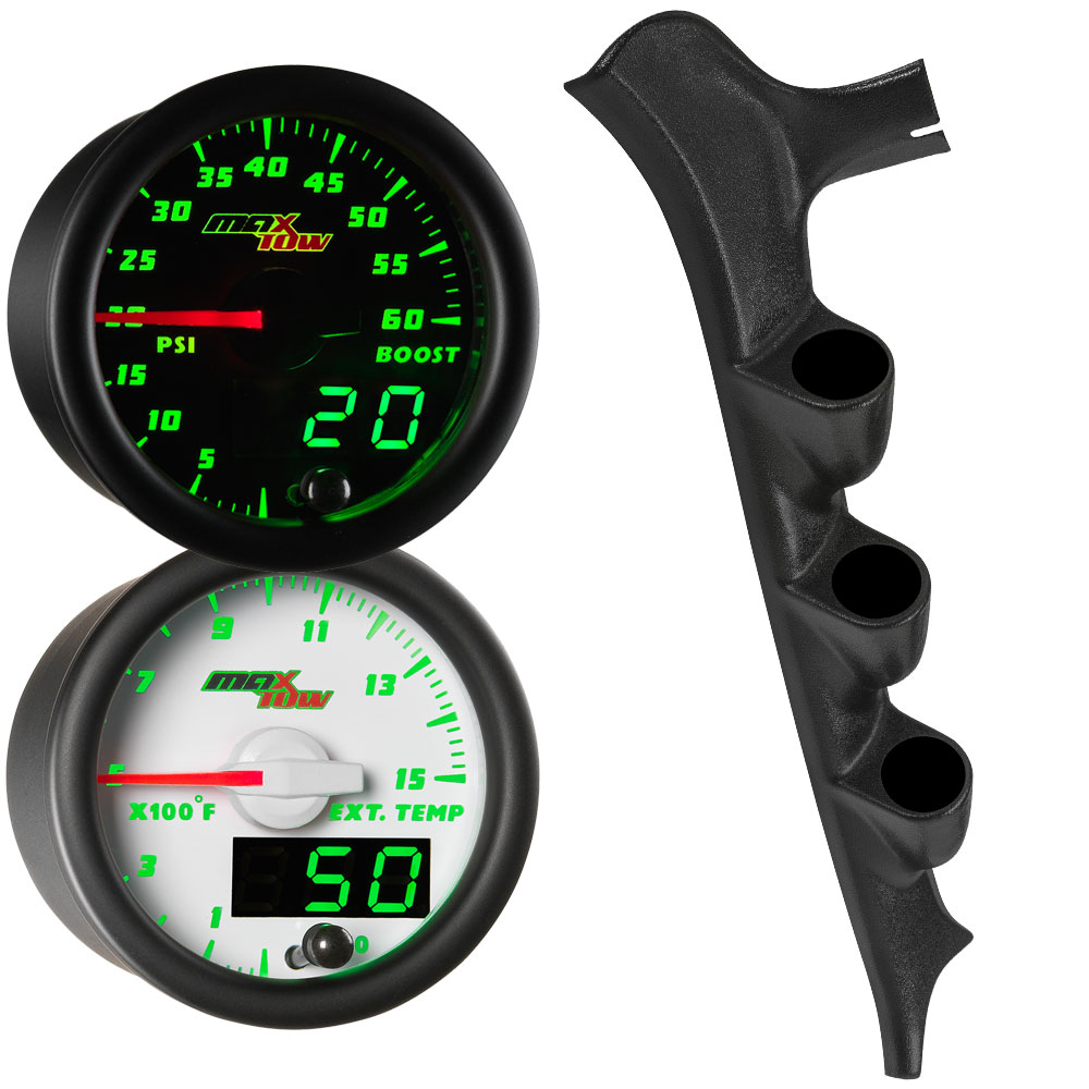Green MaxTow Triple Gauge Package for 1987-1991 Ford F-Series Thumb