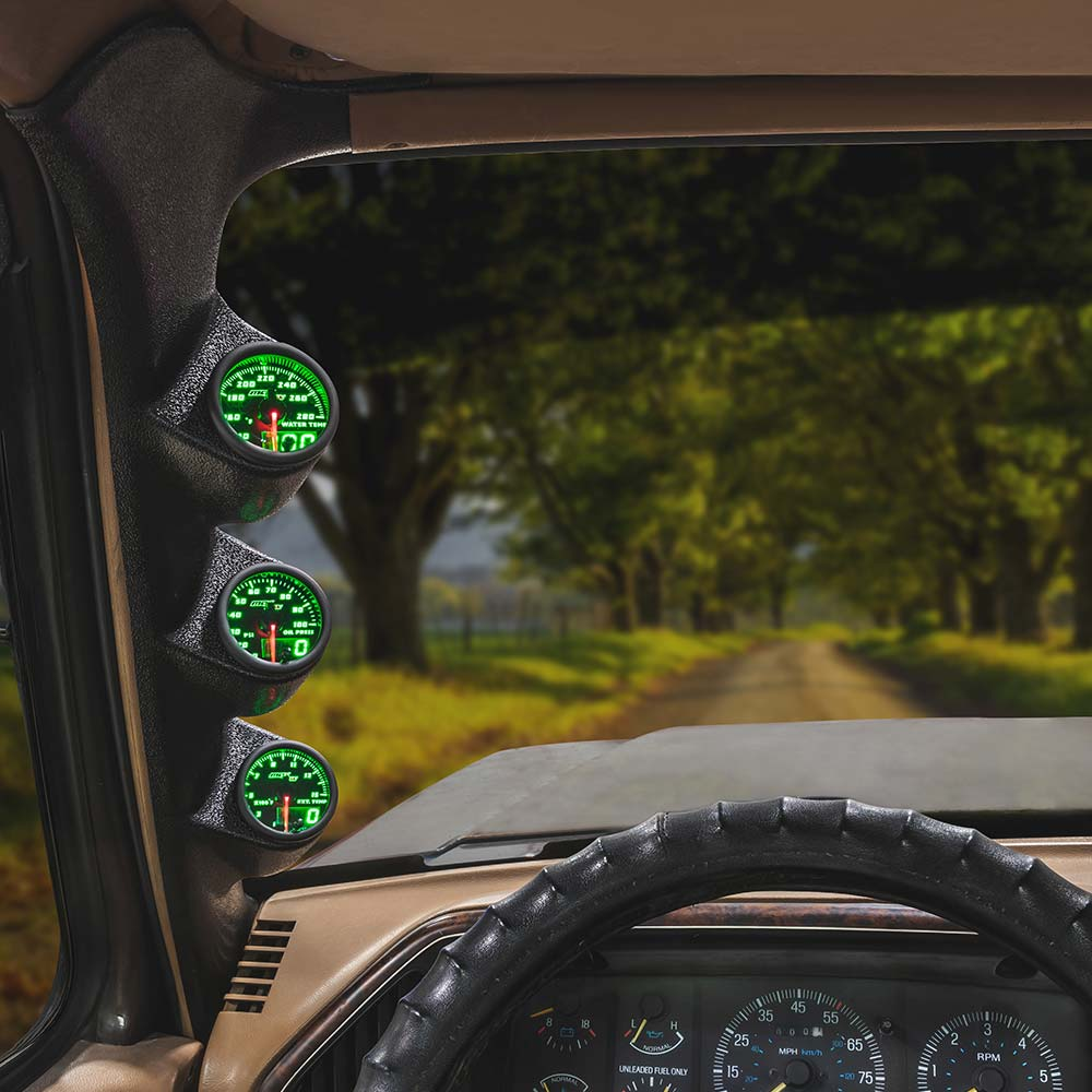 Green MaxTow Triple Gauge Package for 1987-1991 Ford F-Series