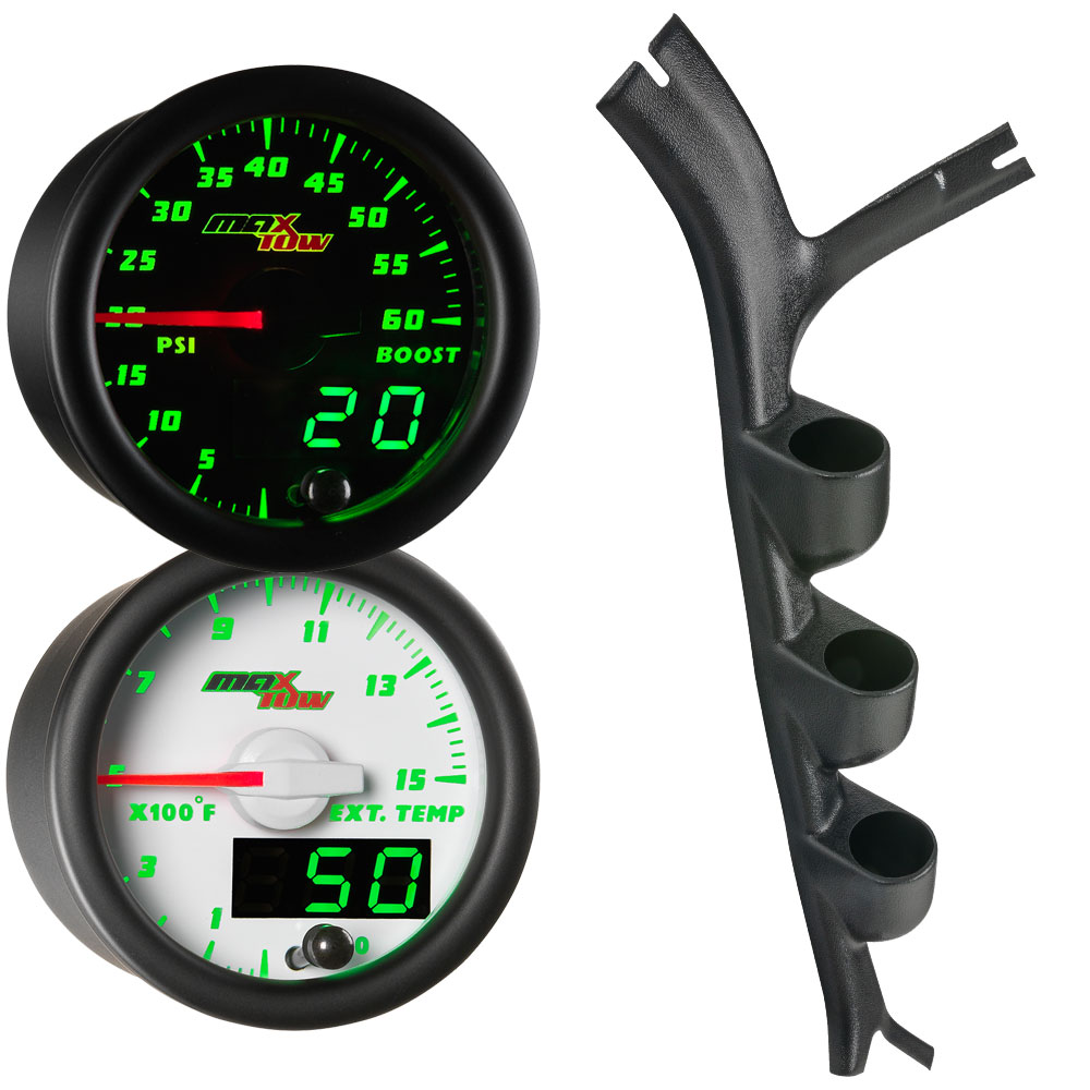 Green MaxTow Triple Gauge Package for 1973-1987 Chevrolet C-10