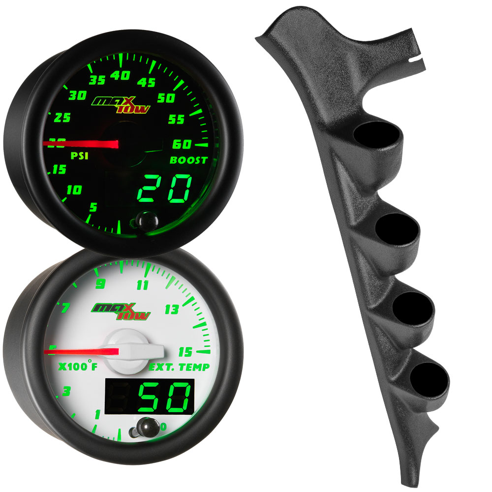 Green MaxTow Quad Gauge Package for 1987-1991 Ford F-Series Thumb