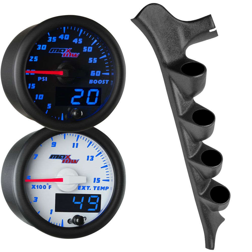 Blue MaxTow Quad Gauge Package for 1987-1991 Ford F-Series Thumb