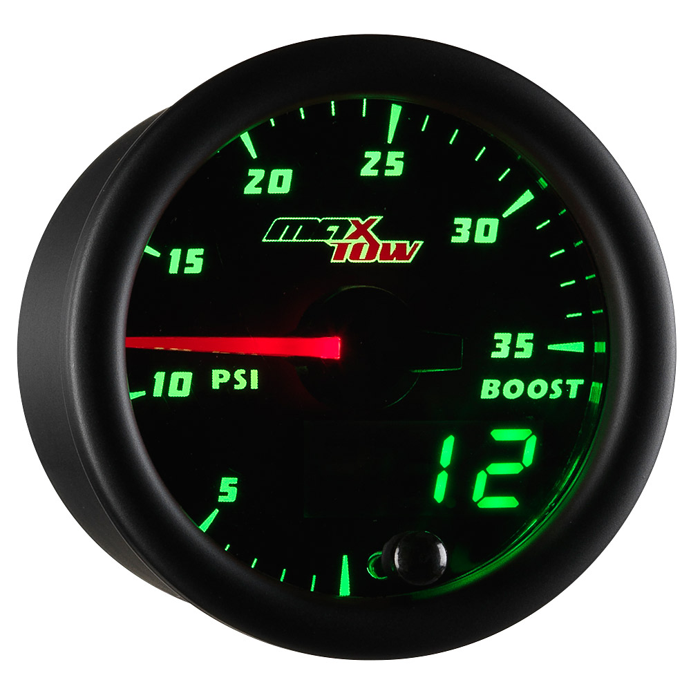 Black MaxTow Double Vision 35 PSI Boost Gauge