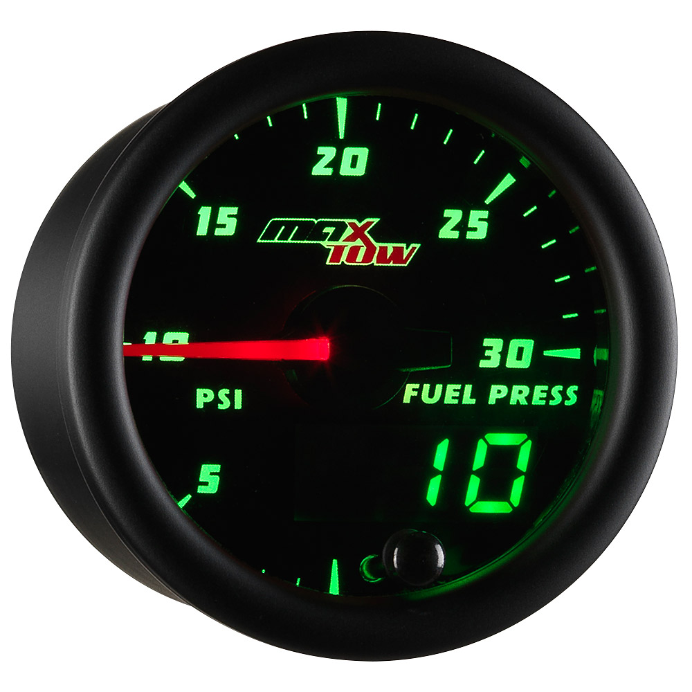 Black MaxTow Double Vision 30 PSI Fuel Pressure Gauge
