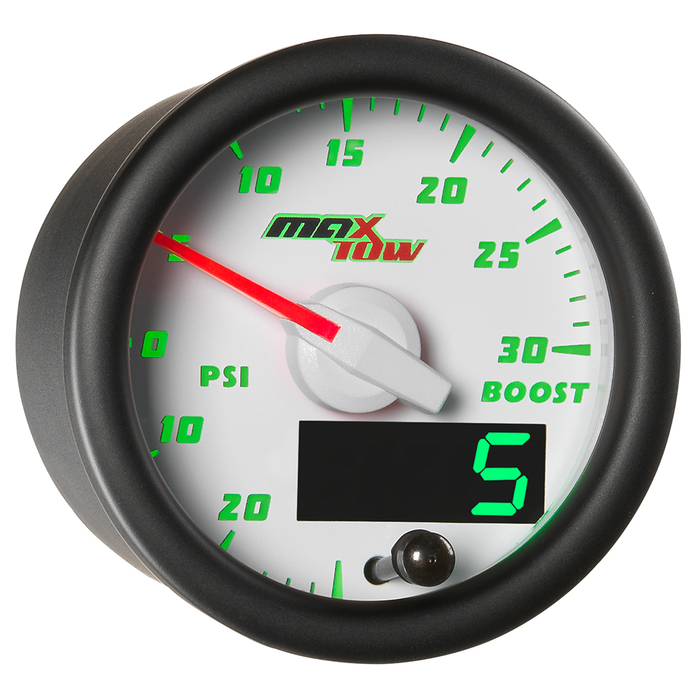 White MaxTow Double Vision 30 PSI Boost / Vacuum Gauge