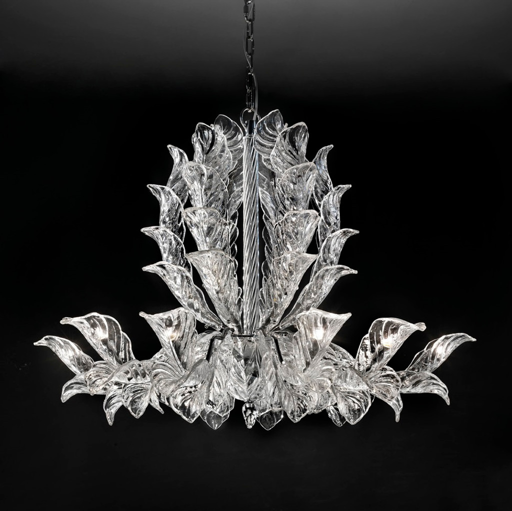 Contemporary Glass Leaves Chandelier