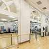 "FRAPPÉ SINGLE- Custom Barres Single Floor Mounted Bracket and Barre - Silver - 38"" High - Installed at The Space fitness studio - in Chicago IL - http://www.fitthespace.com/"