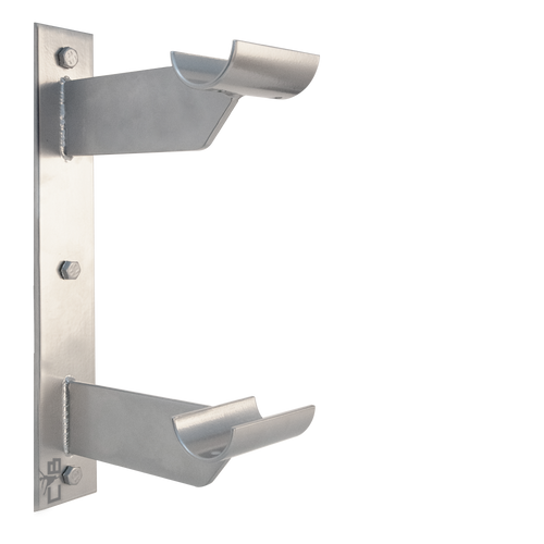 ALLEGRO - Double Wall Mounted Barre Bracket by Custom Barres - open saddle - SILVER Finish