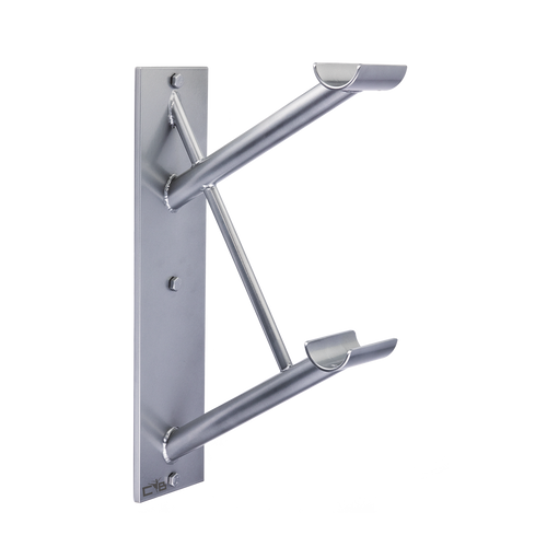Cabriole Double - Custom Barres Double Wall Mounted Ballet  Barre Bracket - Silver