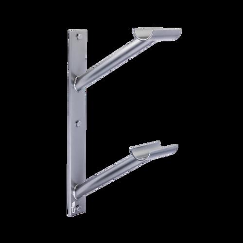 Custom Barres Doubler En Lair - Double Wall Mounted Ballet Barre Bracket - Open Saddle - silver