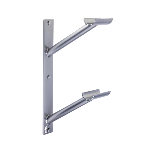 Custom Barres Doubler En Lair - Double Wall Mounted Ballet Barre Bracket - Open Saddle - silver