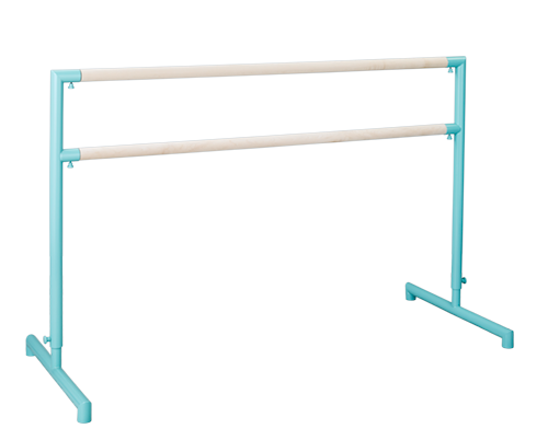 Custom Barres 2nd Arabesque - Adjustable Ballet Barres - Adjustable Portable Ballet Barre - Tiffany Blue / Unfinished Maple Barre