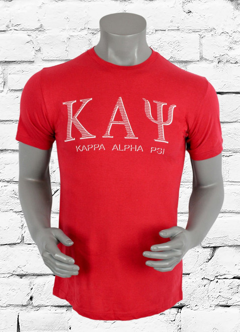 Crimson Kappa Alpha Psi tee is a classic design with a playful update. The subtle word play in the design makes for a very iconic shirt.